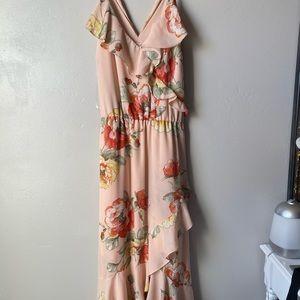 Long pink flowy dress